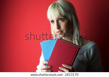 Beauty student with books.