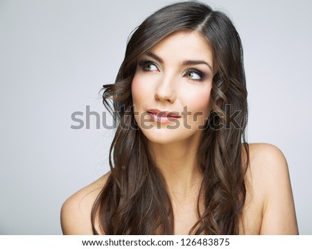 Beauty style female portrait. Smiling woman face close up.
