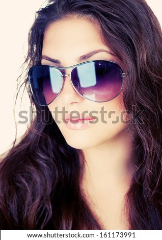 Beauty Stylish Fashion Model Girl wearing Sunglasses. Beautiful Sexy Woman Portrait - stock photo