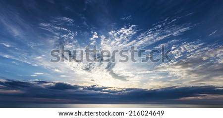 Beauty sunset after thunderstorm. - stock photo