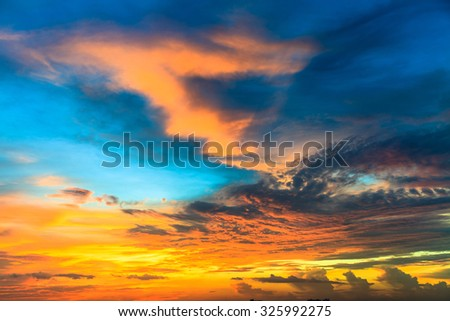 Beauty sunset with blue and orange clouds