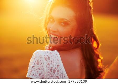 Beauty Sunshine Girl Portrait. Happy Woman Smiling. - stock photo