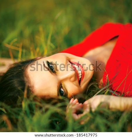 Beauty Sunshine Girl Portrait. Happy Woman Smiling. - stock photo