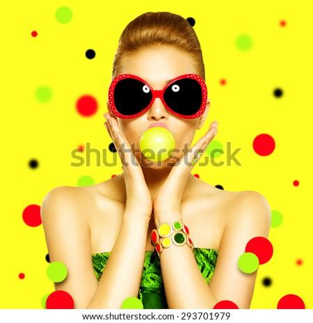 Beauty surprised fashion funny model girl wearing sunglasses. Young girl with green bubble of chewing gum. makeup isolated over white background. Expressing positive emotions, smile. Beautiful woman  - stock photo