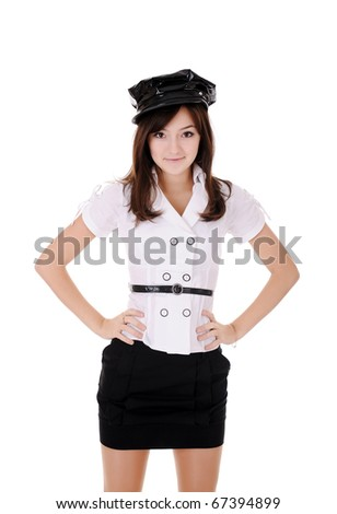 beauty teenager in white blouse and black peaked cap, isolated on white