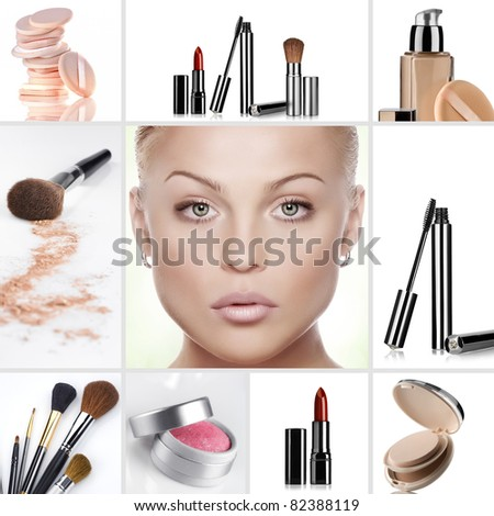Beauty theme collage composed of different images - stock photo