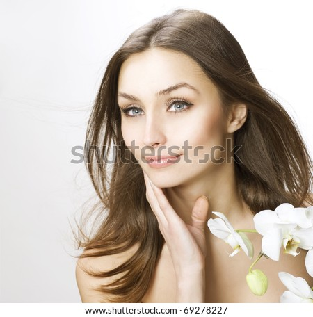 Beauty touching her face.Fresh skin - stock photo