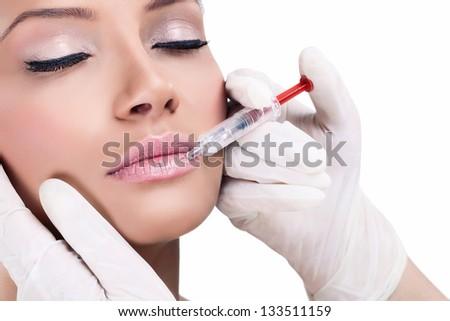 beauty treatment, botox injection - stock photo