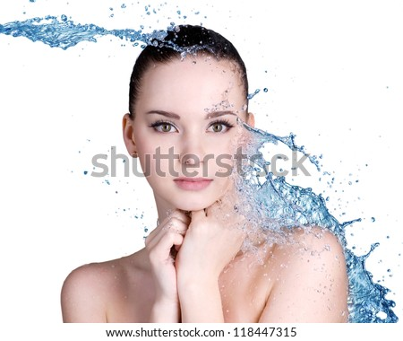 Beauty treatment concept of woman with blue water. Isolated on white background