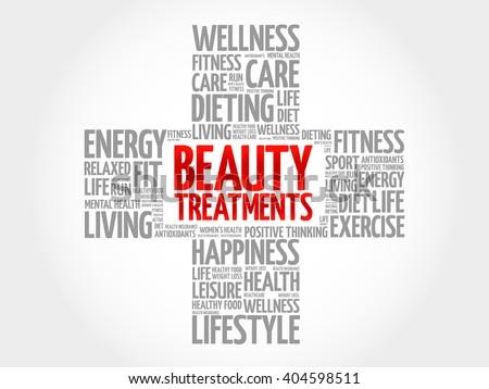 Beauty Treatments word cloud, health cross concept - stock photo