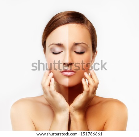 Beauty visual about suntan. Model's face divided in two parts - tanned and natural. - stock photo