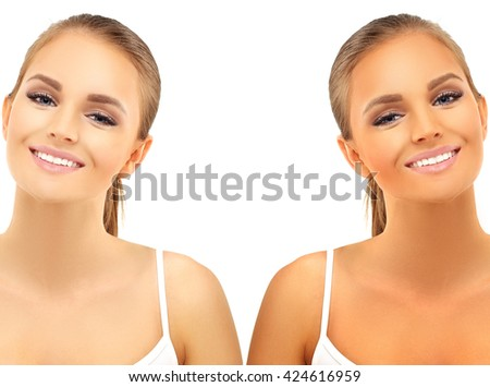 Beauty visual about suntan. Model's face  - tanned and natural - stock photo