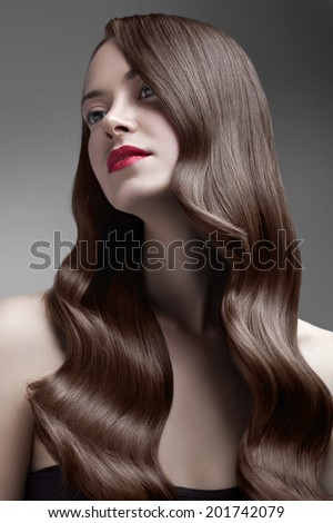 beauty wavy shiny hair - stock photo