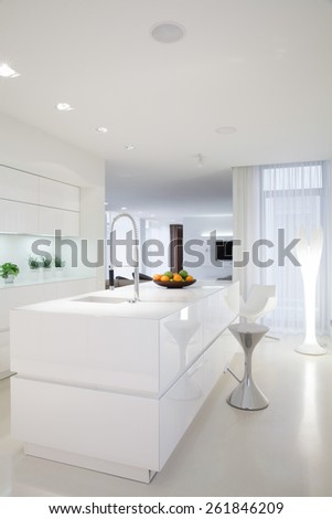 Beauty white kitchen interior in contemporary house - stock photo