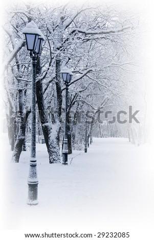 beauty white winter snow landscape - stock photo