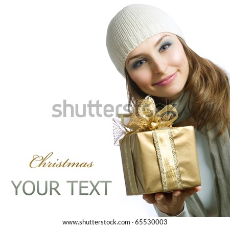 Beauty with Christmas Gift Box - stock photo