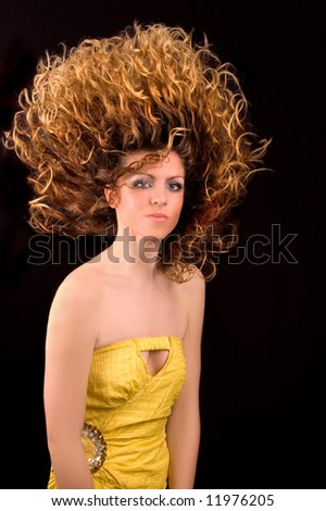 Beauty With Fire Hair - stock photo