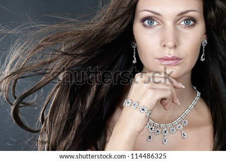 Beauty with jewellery - stock photo