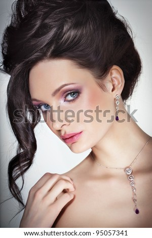 Beauty with jewellry - stock photo