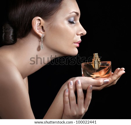 Beauty with perfume - stock photo