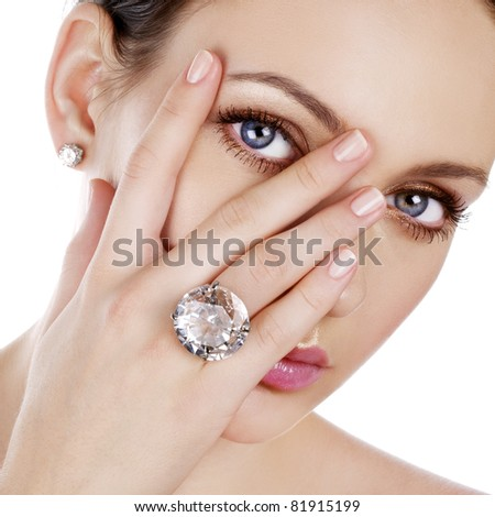 beauty with ring - stock photo