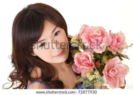 Beauty with roses, closeup portrait of Asian girl on white background. - stock photo