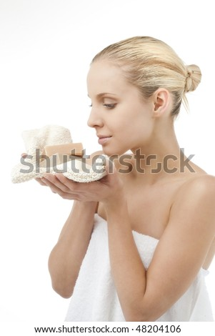 Beauty with soap - stock photo
