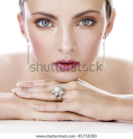 Beauty with stylish jewelry - stock photo