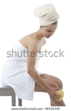 Beauty with towel and sponge - stock photo