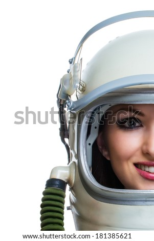 Beauty woman astronaut with copy space - stock photo