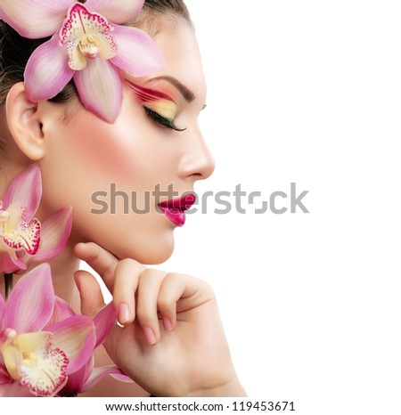 Beauty Woman. Beautiful Model Girl. Isolated on a White Background - stock photo