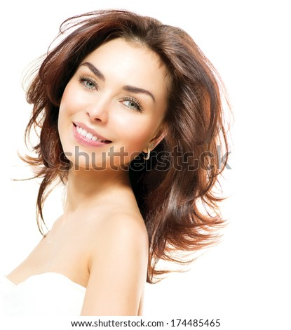 Beauty Woman. Beautiful Young Female Portrait isolated on White Background. Healthcare. Perfect Skin. Beauty Face. Professional Nude Makeup  - stock photo
