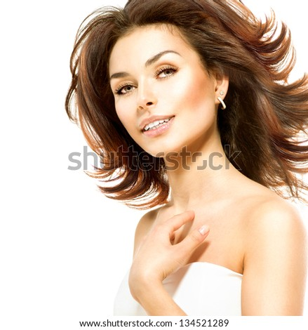 Beauty Woman. Beautiful Young Female touching Her Skin. Portrait isolated on White Background. Healthcare. Perfect Skin. Beauty Face. - stock photo