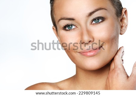 Beauty Woman. Beautiful Young Female touching Her Skin. Skincare concept. Beauty Face.Perfect Skin. Healthcare concept.Beauty concept. - stock photo