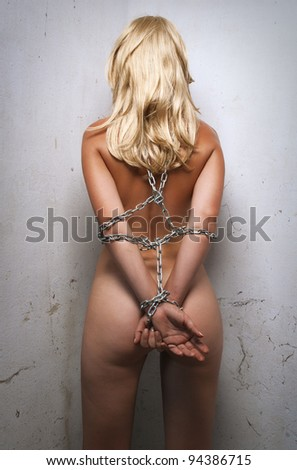 beauty woman bondage in angle of room - stock photo