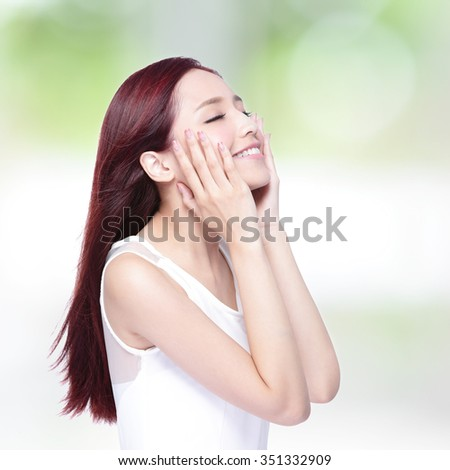 Beauty woman charming smile and relax closed eye enjoy with health skin, teeth and hair, asian beauty - stock photo