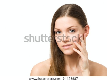 Beauty woman checking the skin - stock photo