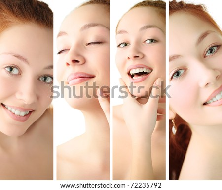 beauty woman closeup portrait over white background - stock photo