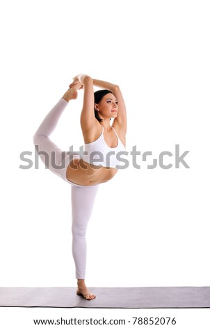 beauty woman exercise yoga - Dancer Pose - stock photo