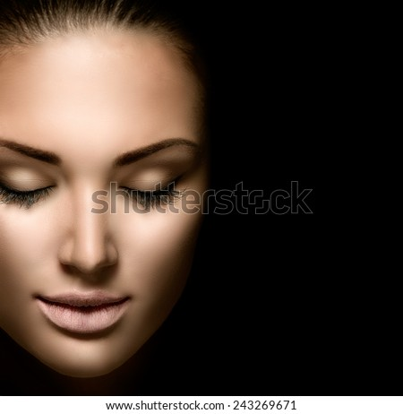 Beauty woman face closeup isolated on black background. Beautiful model girl makeup. Gorgeous lady with closed eyes. Perfect skin and make up  - stock photo