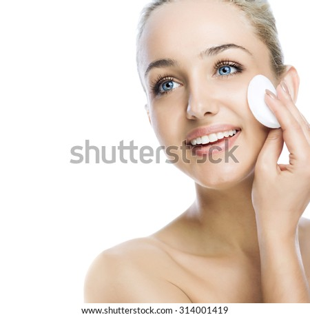 beauty woman face over brown background. - stock photo