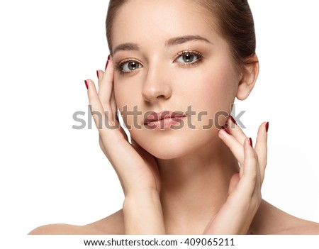 Beauty Woman face Portrait. Beautiful model Girl with Perfect Fresh Clean Skin. Youth and Skin Care Concept. Isolated on a white background - stock photo