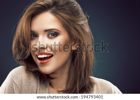 Beauty woman face portrait close up. Smiling beautiful girl.