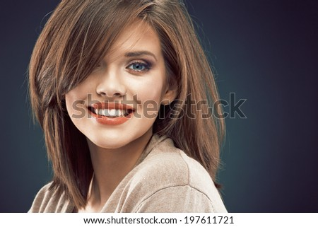 Beauty woman face portrait close up. Smiling beautiful girl. - stock photo