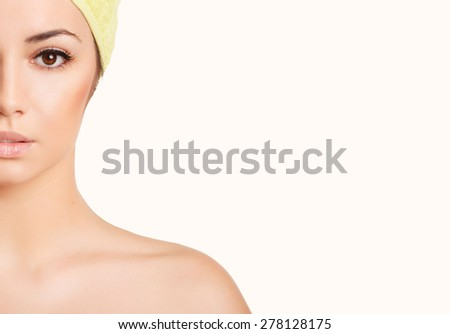Beauty woman face portrait girl fresh skincare spa wellness, natural makeup female, beautiful lady studio isolated white background and copy space, series