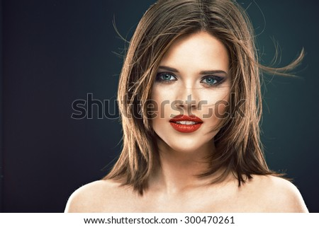 Beauty woman face portrait. Young model. Long hair. - stock photo