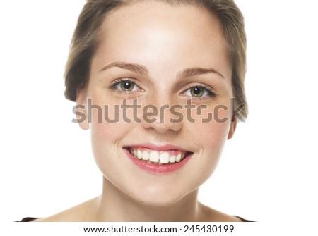 Beauty woman face studio portrait - stock photo
