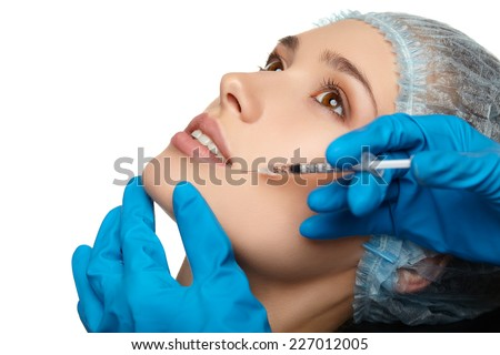 Beauty Woman face surgery close up portrait. Female model. - stock photo