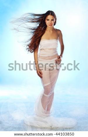 beauty woman fashion in dress - stock photo
