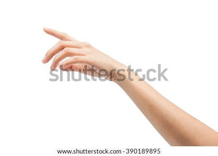 Beauty woman hand with french manicure isolated on white backgro - stock photo
